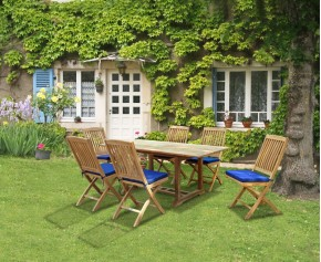 Hilgrove Teak 1.8m Rectangular Garden Table and 6 Folding Chairs Set - Hilgrove Dining Set