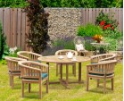 Canfield Contemporary 5ft Round Garden Table and 6 Tub Chairs Set
