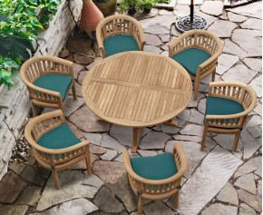 Canfield Contemporary 5ft Round Garden Table and 6 Tub Chairs Set - 6 Seater Dining Table and Chairs