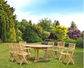 Brompton Extending Garden Table and 6 Folding Chairs Set - Dining Sets