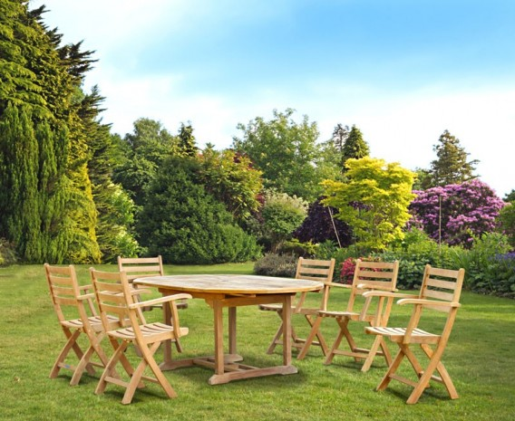 Brompton Extending Garden Table and 6 Folding Chairs Set