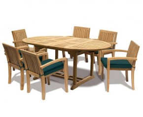 Monaco Deluxe Teak 6 Seat Extending Set - Stacking Chairs