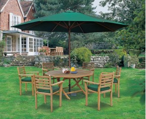 Suffolk Teak 6 Seat Octagonal Folding Table and Stacking Chairs Set - Octagonal Table