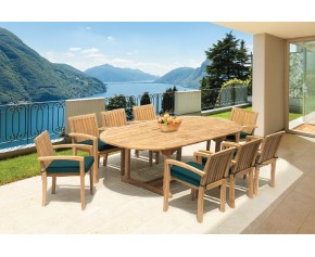 Monaco 8 Seater Extending Dining Set with Stacking Chairs - Teak Garden Furniture Sale