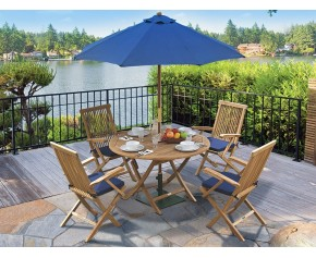 Suffolk Folding Round Garden Table and Arm Chairs Set - Patio Outdoor Dining Set - Armchairs