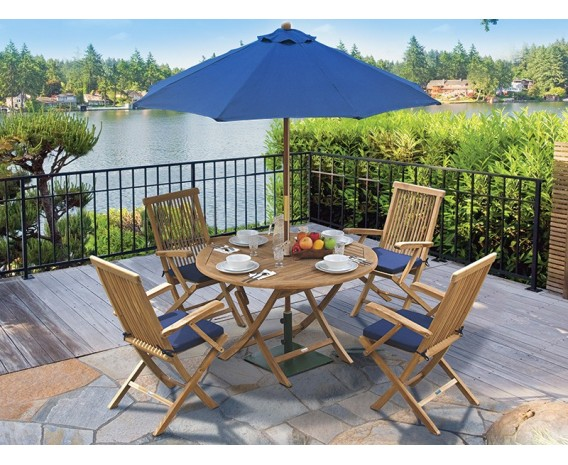 Suffolk Folding Round Garden Table and Arm Chairs Set - Patio Outdoor Dining Set