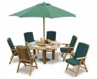Titan Teak 6 Seater Round Patio Table and Reclining Chairs Set