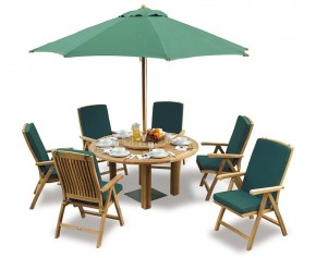 Titan Teak 6 Seater Round Patio Table and Reclining Chairs Set - Titan Dining Set
