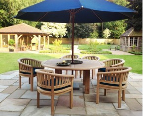 Titan Robust Round 6 Seater Patio Dining Set - Contemporary Dining Set