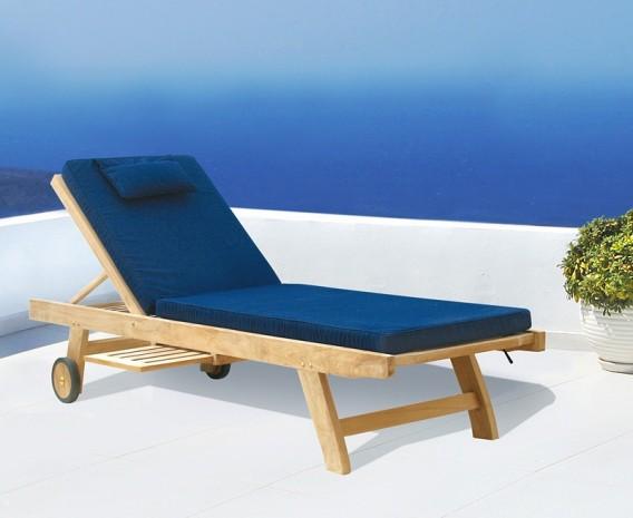 Teak Wooden Garden Sun Lounger with Cushion