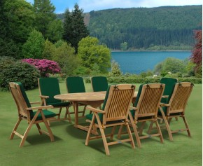 Bali 8 Seater Extending Garden Table and Reclining Chairs Set - 8 Seater Dining Table and Chairs