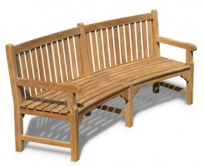 Connaught Teak Curved Garden Bench - 2.2m - 8ft Garden Benches