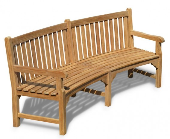 Connaught Teak Curved Garden Bench - 2.2m