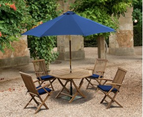 Suffolk Outdoor Foldable Table and Arm Chairs - Patio Garden Dining Set - Octagonal Table