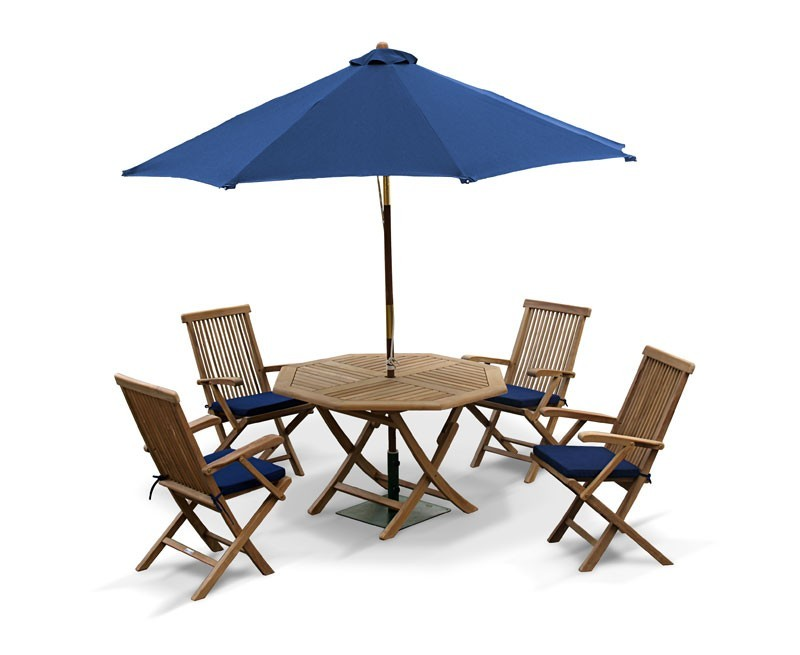 Outdoor Foldable Table And Arm Chairs Patio Garden Dining Set