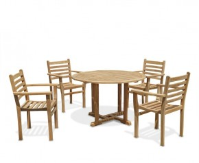 Canfield Round Teak Garden Table and 4 Stacking Chairs Set - Armchairs