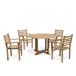 Canfield Round Garden Table and 4 Stacking Chairs Set