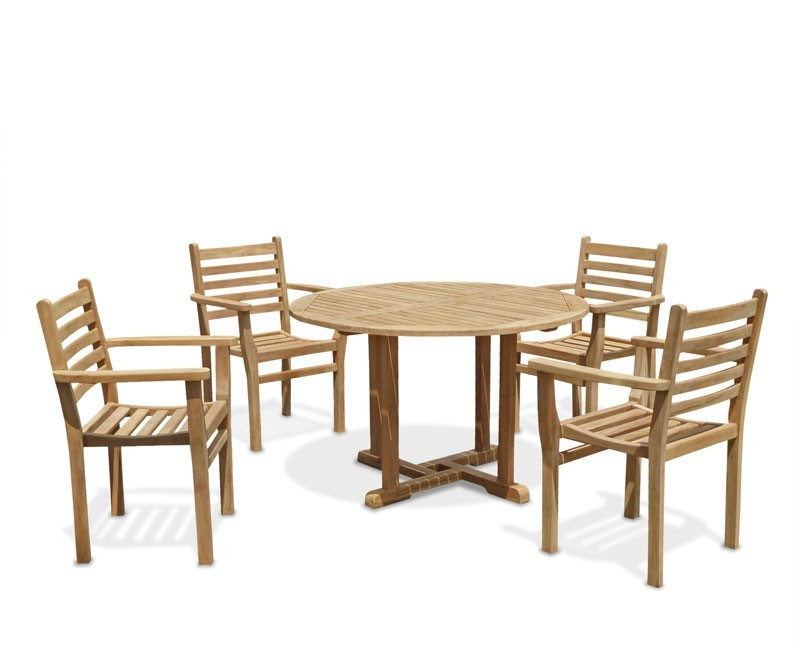 Canfield patio garden table and stackable chairs set for Patio table chair sets