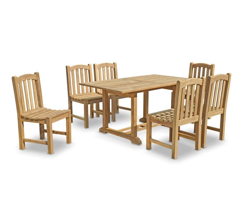 6 seater garden table and chairs teak patio outdoor for Outside table and chairs