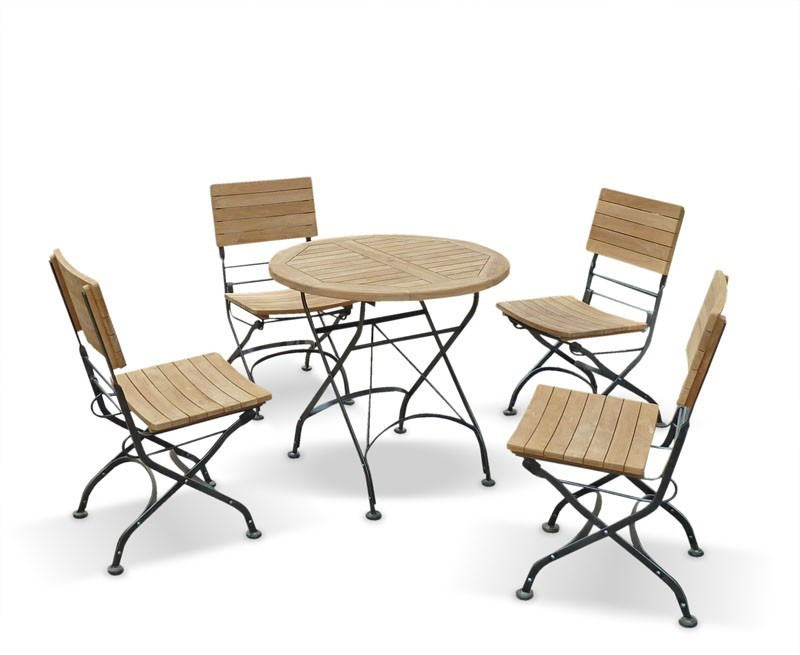 Bistro round table and 4 chairs patio outdoor bistro for Patio furniture table set