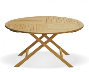 Suffolk Teak Outdoor Folding Round Dining Table-150cm - 6 Seater Dining Tables