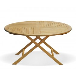Suffolk Teak Outdoor Folding Round Dining Table-150cm