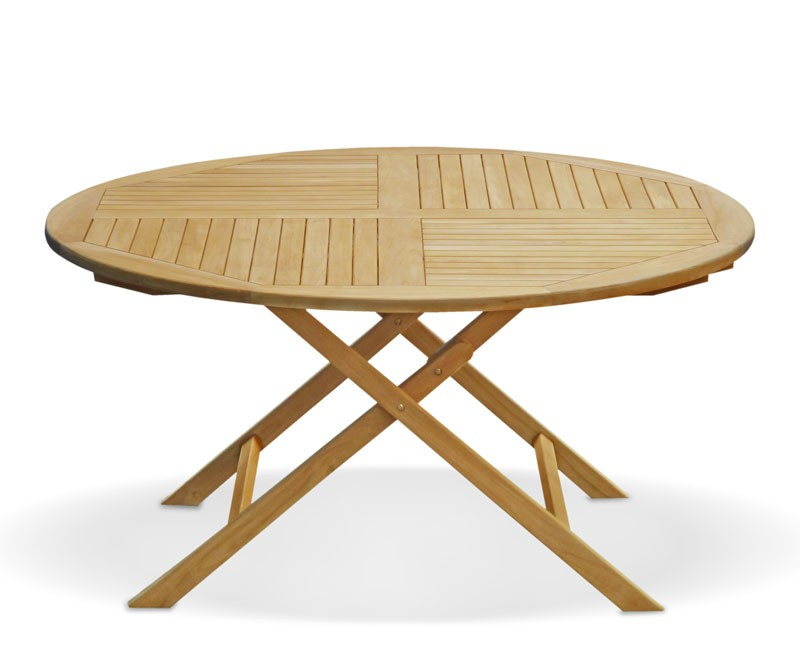 Suffolk Teak Outdoor Folding Round Dining Table