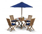 Suffolk Teak Octagonal Folding Table and 4 Chairs Set - Outdoor Patio Teak Dining Set