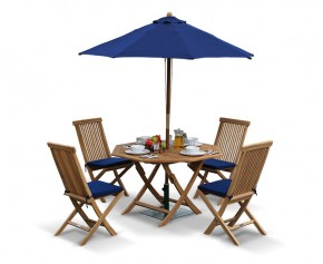Suffolk Teak Octagonal Folding Table and 4 Chairs Set - Outdoor Patio Teak Dining Set - Folding Chairs