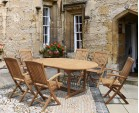 Brompton Teak Oval Extendable Table and 6 Folding Chairs