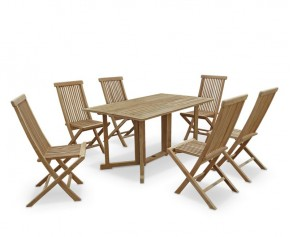 Shelley Rectangular Folding Garden Table and Chairs Set - 6 Seater Dining Table and Chairs