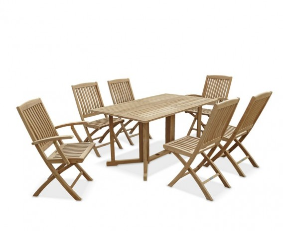 Shelley 6 Seater Rectangular Folding Garden Table, Armchairs and Side Chairs Set