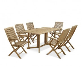 Shelley Gateleg Rectangular Garden Table and 6 Arm Chairs Set - Dining Sets