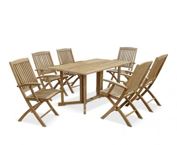Shelley Gateleg Rectangular Garden Table and 6 Arm Chairs Set