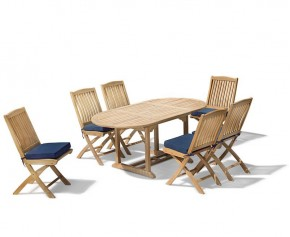Brompton Patio Extending Garden Table and Folding Chairs - Outdoor Extendable Dining Set - Extending Table