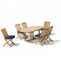 Brompton Patio Extending Garden Table and Folding Chairs - Outdoor Extendable Dining Set