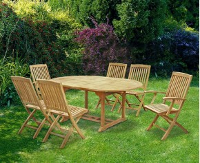 Brompton Teak Extending Table Set - Oval Table