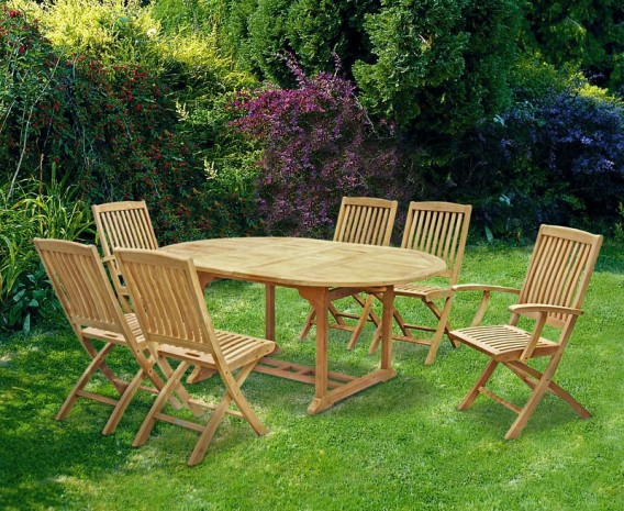 Brompton Teak Extending Table Set