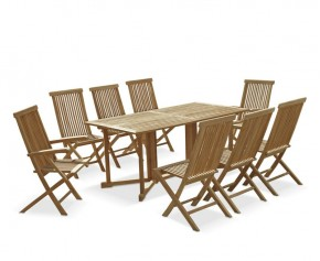 Shelley 8 Seater Gateleg Garden Table and Chairs Set - 8 Seater Dining Table and Chairs
