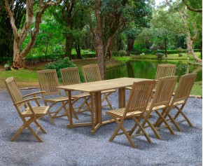Shelley 8 Seater Drop Leaf Garden Table and Chairs Set 2 - Shelley Dining Sets