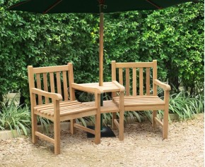 Windsor Teak Garden Companion Seat - Garden Love Bench - 2 Seater Garden Benches