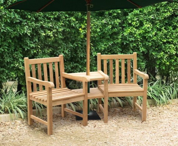 Windsor teak garden companion seat garden love bench for Garden love seat uk