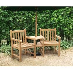 Windsor Teak Garden Companion Seat - Garden Love Bench