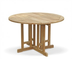Berrington Teak Folding Round Gateleg Table - 120cm - Folding Garden Tables