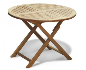 Suffolk Teak Garden Round Folding Table - 1m - Folding Garden Tables