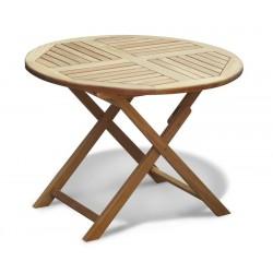 Suffolk Teak Garden Round Folding Table - 1m