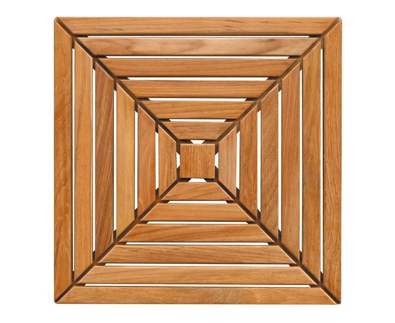 Teak decking tiles patterned