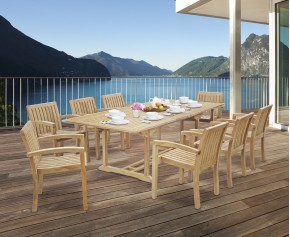 Dorchester Teak Extendable Dining Set with 8 Monaco Stacking Chairs - Dorchester Dining Set