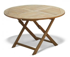 Suffolk Teak Garden Round Folding Table -120cm - Folding Garden Tables