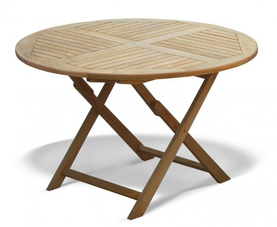 Suffolk Teak Garden Round Folding Table -120cm